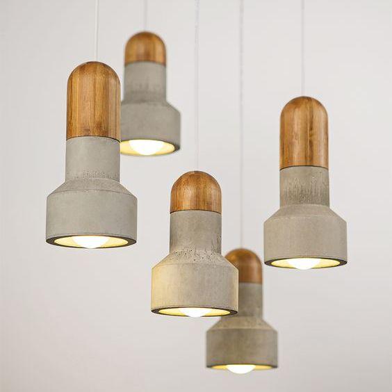 lampy beton drewno